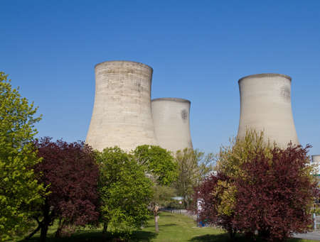 coal fired: Coal fired electricity power station cooling towers