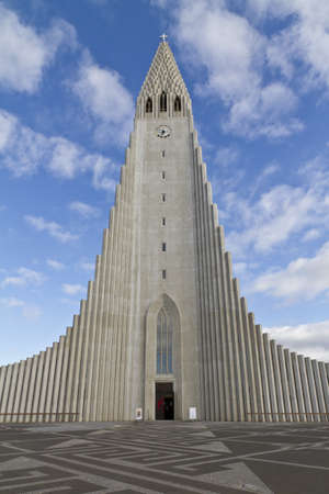 echoes: Hallgrimskirkja Church, Reykjavik,Iceland. The church architecture echoes the collumnar basalt formations common in Icelandic geology