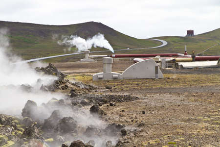 Geothermal powerstion built on a lavafield in Iceland