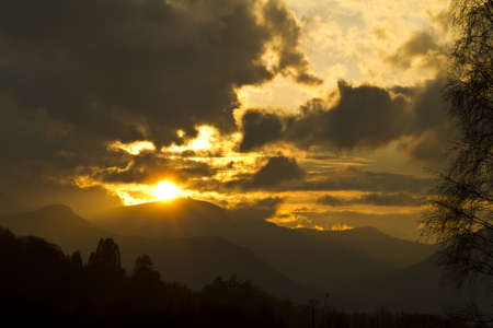 fells: Sunset over th fells above Derwent Water, Lake District, Cumbria, UK Stock Photo