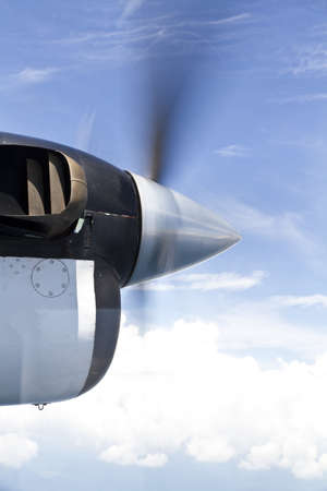 Close up of the propellor of a turboprop engine in flight