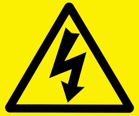 descarga electrica: Negro sobre amarillo de aviso de inicio de sesi�n peligro de electrocuci�n Foto de archivo
