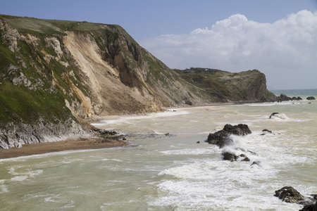 stone steps: Major cliff collapse landslide on the Jurassic coast, St Oswald