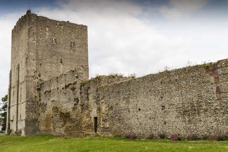norman castle: The medieval castle of Portchester is set within the walls of a 3rd-century Roman fort  The great Tower was built in the twelth century and a royal residence was added in the 1390s Editorial