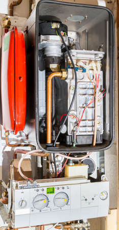 The inner workings of a condensing or combi boiler Stok Fotoğraf