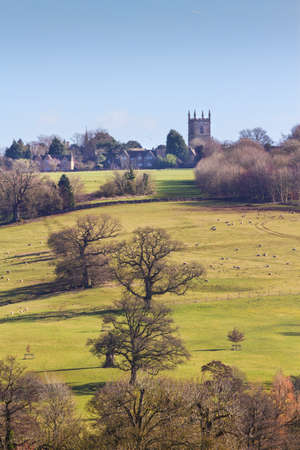 wold: View across fields to Stowe on the Wold, Cotswolds, Gloucestershire, UK Stock Photo