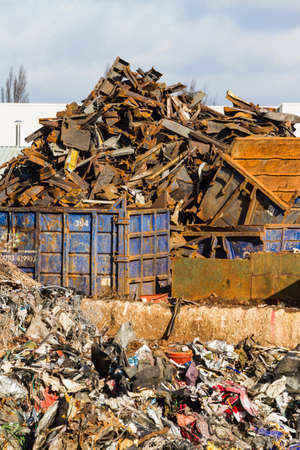 scrapyard: View of a scrapyard with detritus and metal for recycling