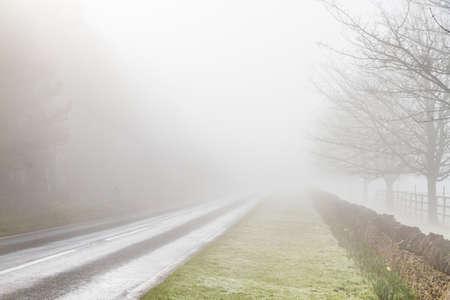 grass verge: Strada di campagna inglese scomparendo nella nebbia