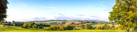 Panoramic Cotswold View, Gloucestershire, England taken below Stow on the Wold on a bright autumn morning Stock Photo