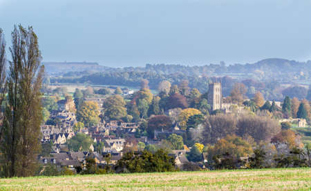 Panorama of Chipping Campden, Gloucester, England, an ancient market town nestling in a valley in the Cotswolds, taken in autumn
