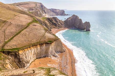 durdle door: Dorset , England, view overlooking Durdle Door a famous section of the Jurrasic coast
