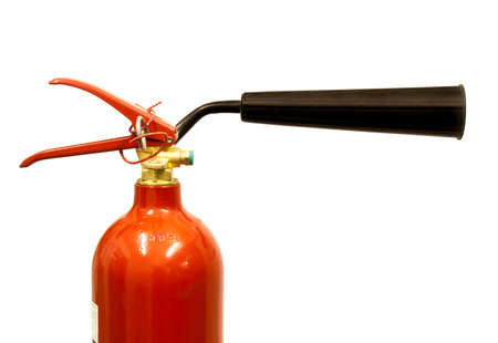 pressurized: Close up of a carbon dioxide fire extinguisher on a white background