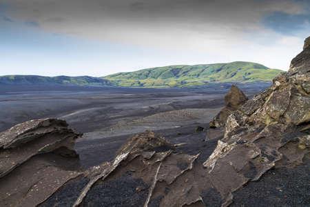 sculpted: Bleak, rugged, wind sculpted,lava landscape, near landmannalaugar,Iceland.