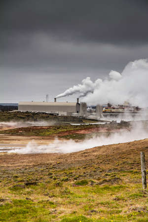 Icelandic geothermal power station built in a lava field