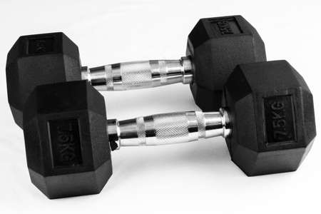 Two 7.5kg dumb-bells black with chrome handles on white background