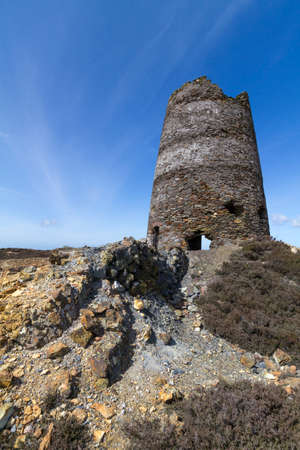 tailings: Ruined Windmill Mynydd Parys, North Wales used to support steam engine for copper mining