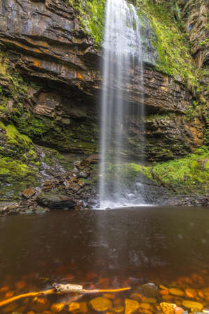 brecon beacons: The 90 foot high Henrhyd Falls on the Nant Lech river, in the Brecon Beacons, South Wales, UK