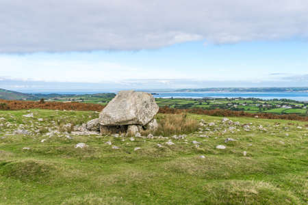 Arthurs Stone Neolithic chambered cairn or dolmen Gower Peninsula, South Wales,UK. Also known as Maen Ceti or the Great Stone of Sketty. Set on the the ridge-backed hill of Cefn Bryn with magnificent views of surrounding countryside and coast