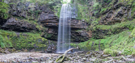 brecon beacons: Panorama of the 90 foot high Henrhyd Falls on the Nant Lech river, in the Brecon Beacons, South Wales, UK