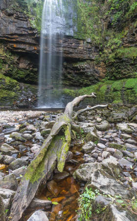 The 90 foot high Henrhyd Falls on the Nant Lech river, in the Brecon Beacons, South Wales, UK
