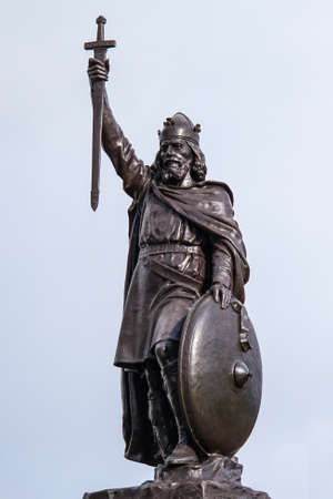 mythology: Statue of King Alfred the Great who ruled the Kingdom of Wessex, England from 871 to 899