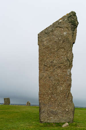 Three of the standing stones of Stenness, a neolithic henge monument on the Isle of Orkney,Scotland UK near the Ring of Brodgar and Maeshowe