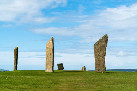Six of the standing stones of Stenness, a neolithic henge monument on the Isle of Orkney,Scotland UK near the Ring of Brodgar and Maeshowe