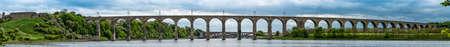 Panorama of The Royal Border Rail Bridge, Berwick upon Tweed, carrying the electrified East Coast Mainline Railway, Northumberland, England