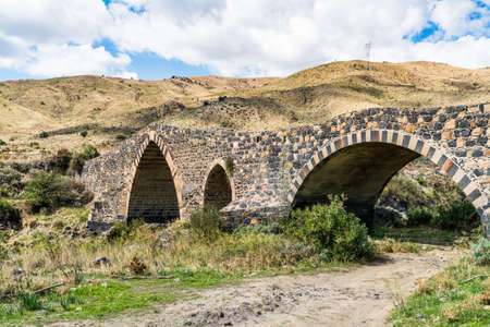 Ponte di Saraceni, near Adrano, Sicily, Italy, probably dates to Roman times and has been rebuilt repeatedly. It crosses the river Simeto and joins the areas of Adrano and Centuripe