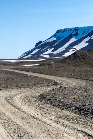 Four Wheel Drive Mountain Track through the Western Icelandic Highlands on a clear sunny day Stock Photo