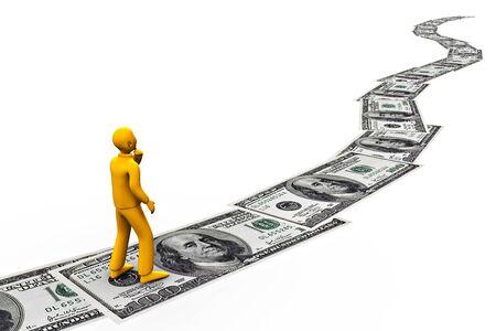 a man walking on 100 dollars bills