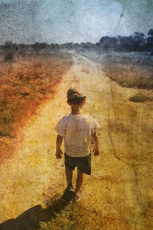 child on the road photo
