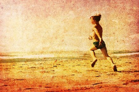 Child running on a beach