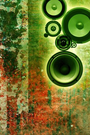 an abstract and grunge background with speakers