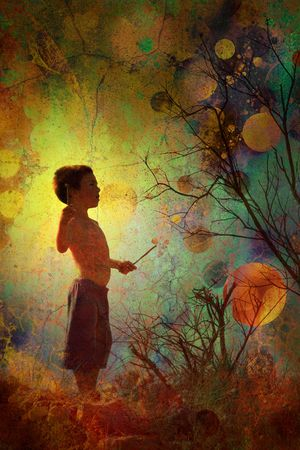 young child on fantasy background