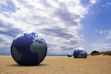 3d globe on the beach Stock Photo