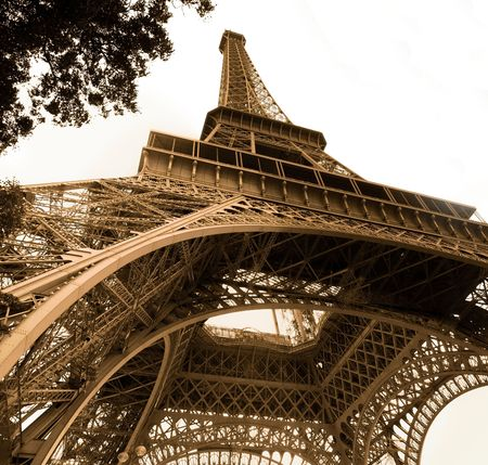 wideangle: vintage picture of Eiffel tower