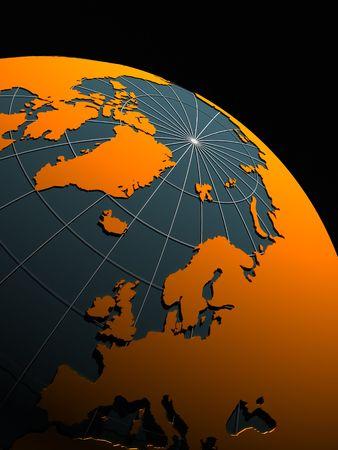 3d globe on black background