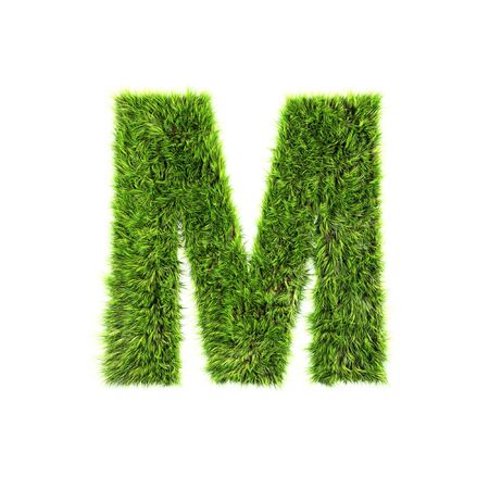 letter m: Grass letter - m Stock Photo