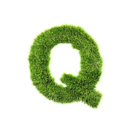 ecologist: Grass letter - q Stock Photo