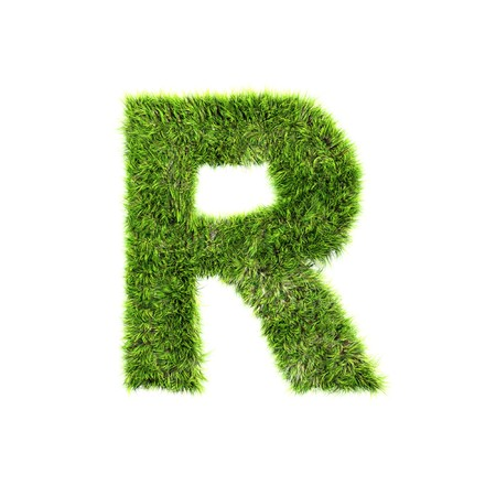 grass isolated: Grass letter - r Stock Photo