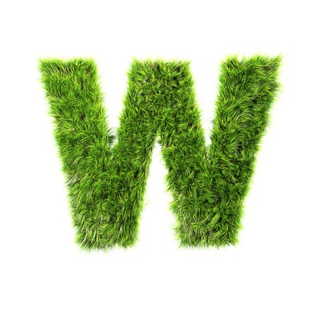 Grass letter - w Stock Photo