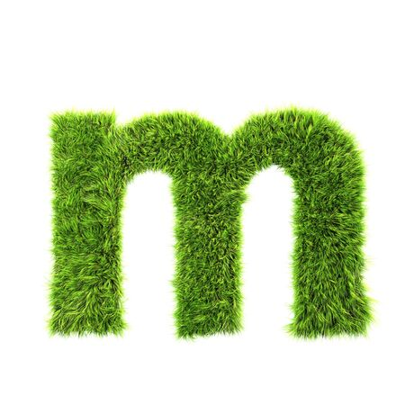 letter m: grass lower-case letter - m