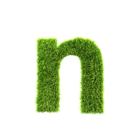 letter n: grass lower-case letter - n