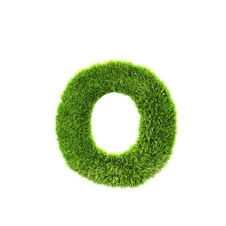 grass lower-case letter - o Standard-Bild