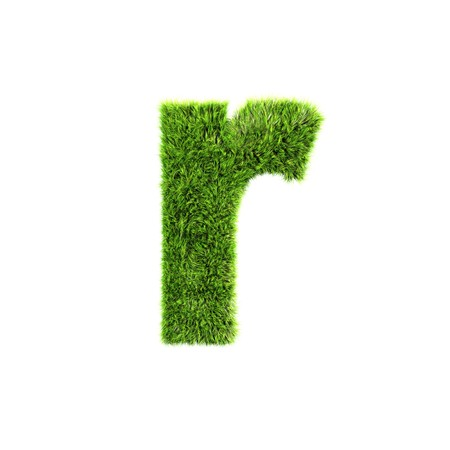 3d letters: grass lower-case letter - r Stock Photo