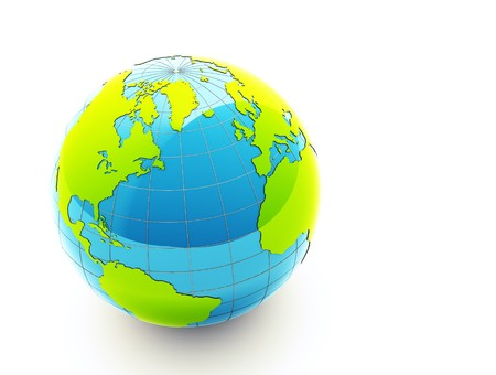 3d glossy green earth on white background photo