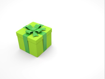 3d green gift box on white background