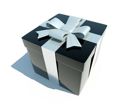 3d gift box on white background photo