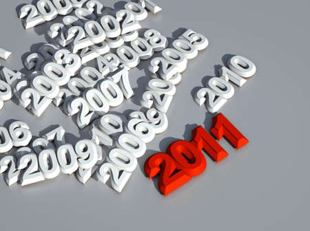 3d new year 2011  red shape photo